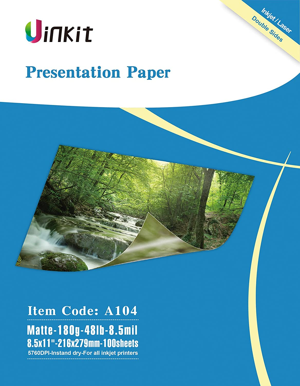 Presentation Paper Double Sides Matte - 100Sheets 8.5x11 Inkjet Photo Paper 8.5Mil 180G For Inkjet Printing Matt Uinkit (A104)