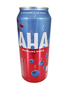 AHA Sparkling Water 16 ounce cans Naturally Flavored 0 Calories (Blueberry + Pomegranate, 4 Cans)