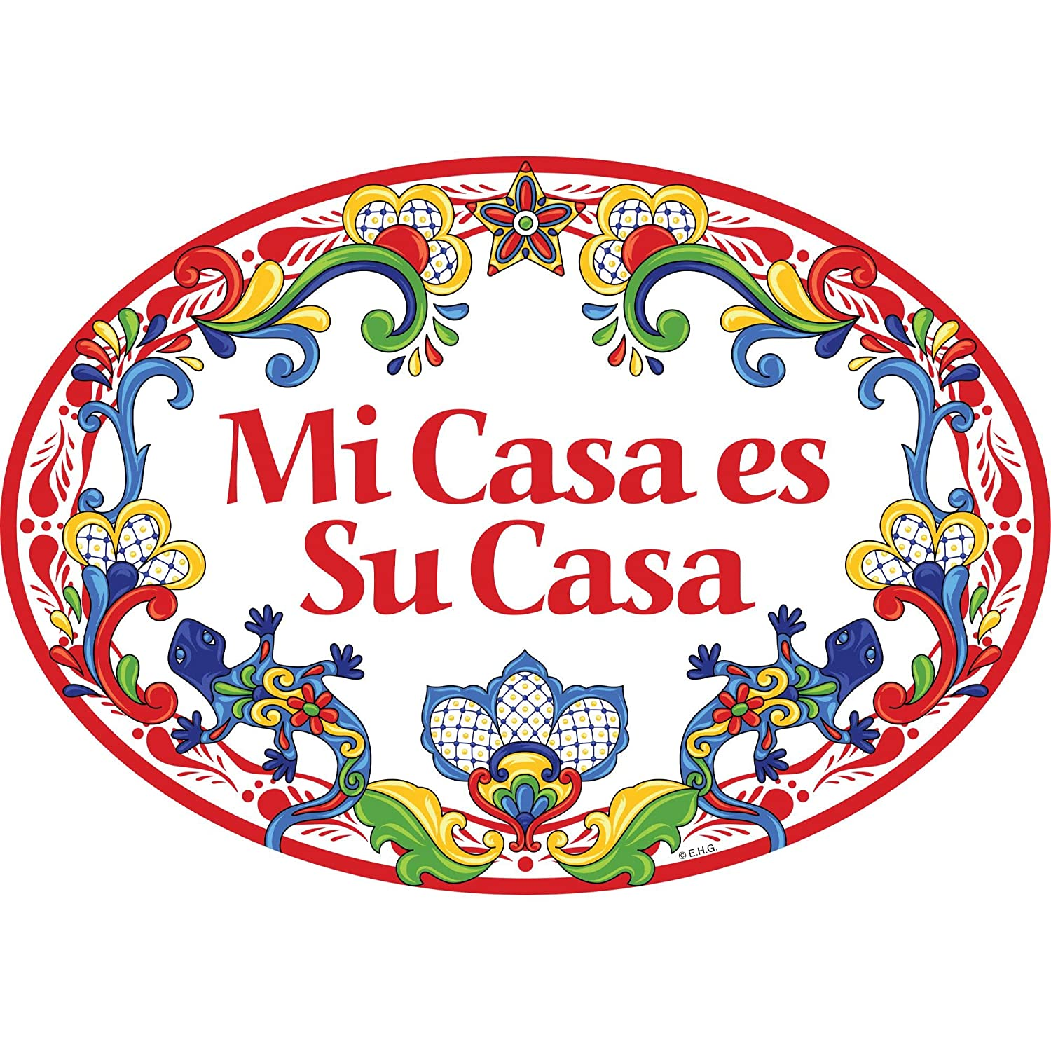 Essence of Europe Gifts E.H.G Mi Casa ES Su Casa Latino Traditional Geckos Artwork Spanish My House is Your House 11x8 Ceramic Door Sign by E.H.G.