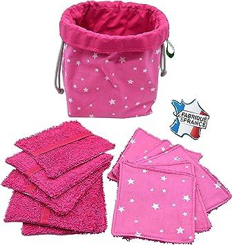 10 toallitas desmaquillantes lavables, diferentes colores, neceser ...