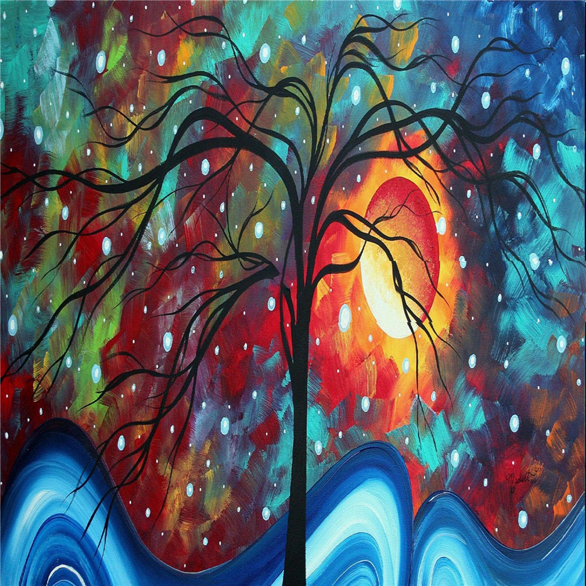 100% Hand Painted Oil Paintings Contemporary Decor Abstract Paintings Reproductions Star Tree Wall Decoration (20X20 Inch, Artists 1)