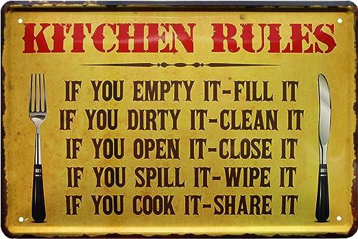 Blechladen Kitchen Rules 797 - Cartel de Chapa (20 x 30 cm), diseño de Reglas de Cocina