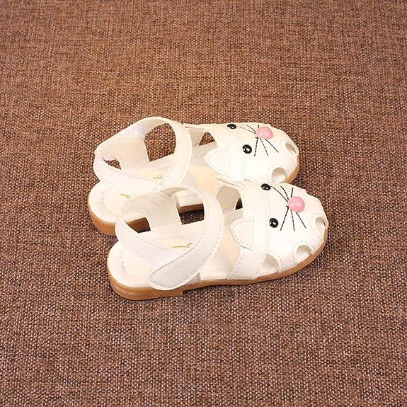 OHQ Scarpe per Neonato, bambini Ragazze Sandali di Stampa del Fumetto Gatto Principessa Scarpe Casual Bambina Bambino Cat Head Bag (28, Bianca)