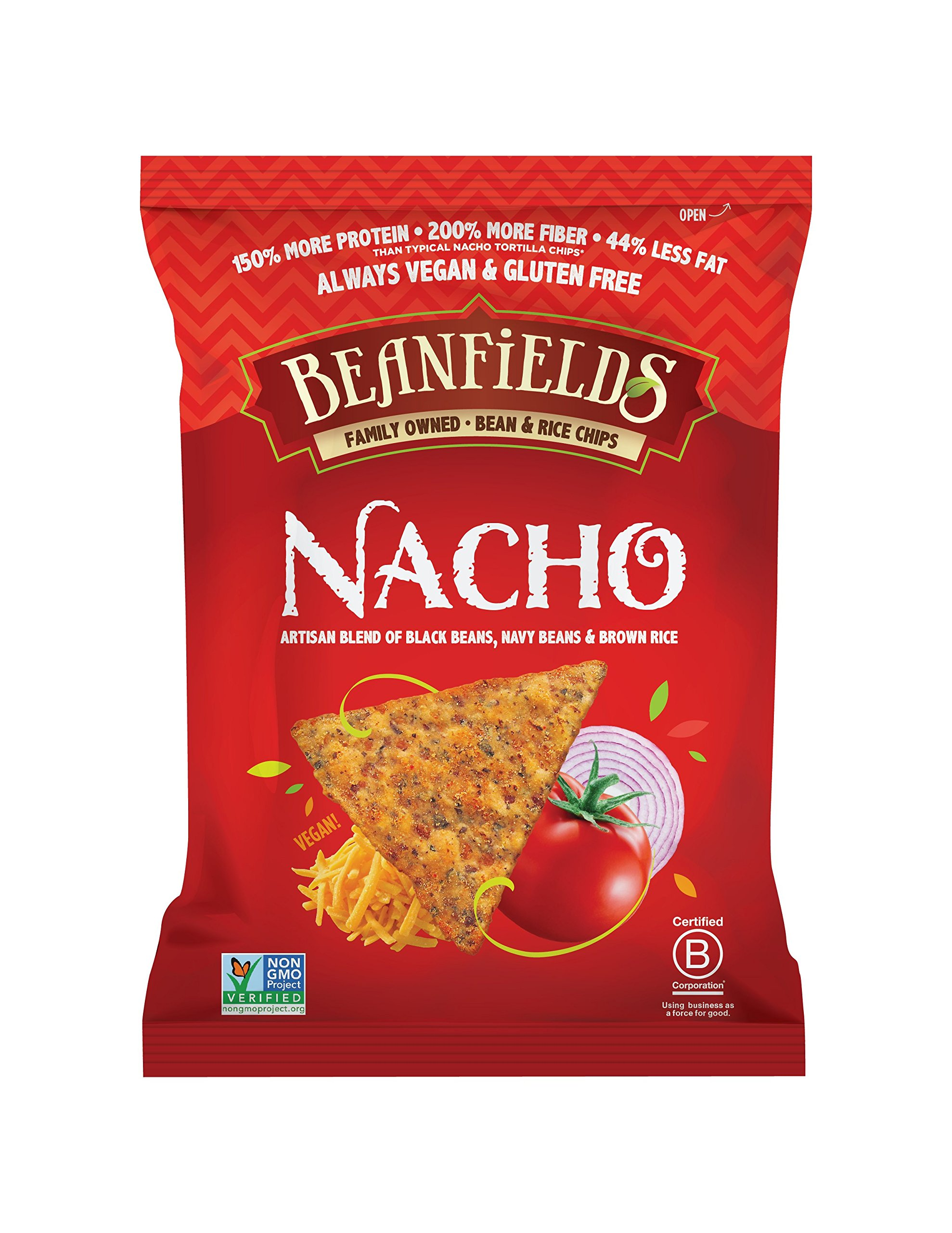 Beanfields Bean & Rice Chips, Nacho, 1.5 Ounce (Pack of 24) by BEANFIELDS (Image #1)