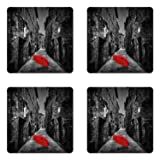Ambesonne Black and White Coaster Set of Four, Red