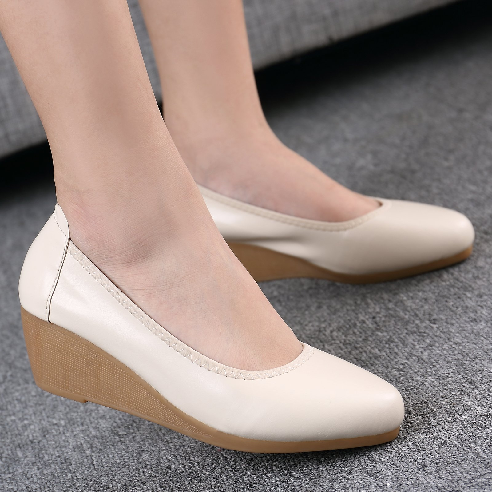 GAOLIM A Large Number Of Women Shoes Thick Black With Low And High-Heeled Shoes Air Hostesses Etiquette Interview Overalls Flat Bottom Single Shoes Female,42, M White 5Cm