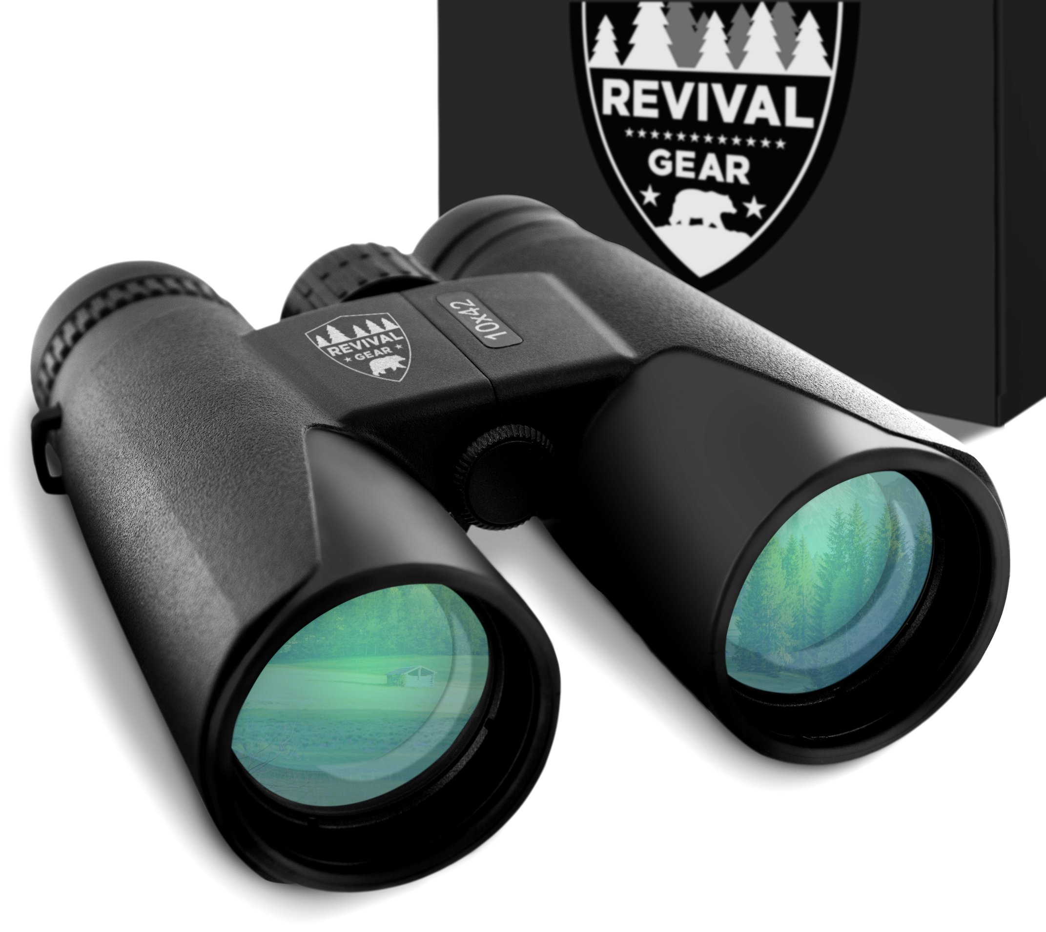 Binoculars for Adults: Best Small Compact Powerful 10X42 Vision Prism Binocular Tactical Hunting Gear. Bird Watching Field Glasses Gift Ideas Men Boys Dad Gifts Him Kids Women. Harness Strap & Case by Revival Gear
