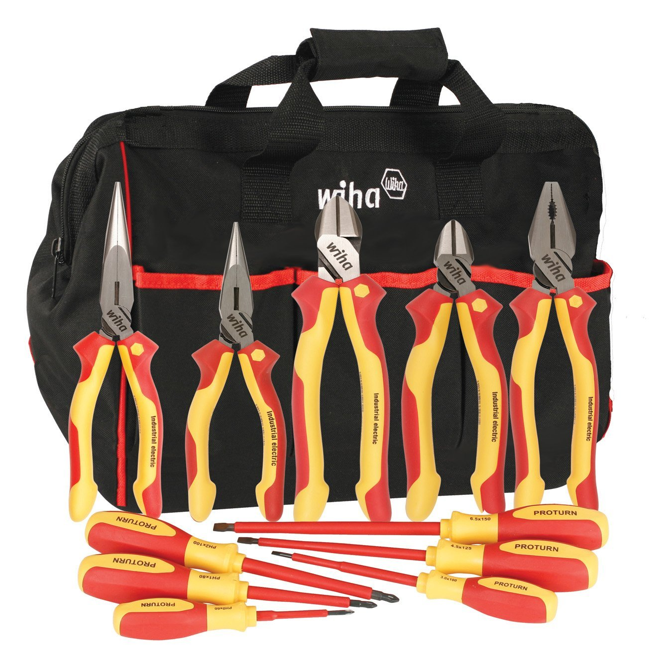 Wiha 32390 Insulated Pliers, Cutters & Drivers. 1000 Volt, In Canvas Tool Bag, 11 Piece by Wiha