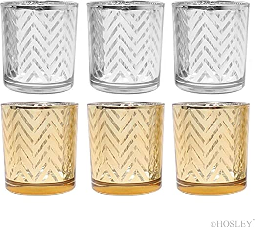 Party Favor Reiki Home O6 Meditation Bridal Ideal Gift for Wedding Hosley Set of 4 Gold Glass Tealight Candle Holder- 3.54 High Spa