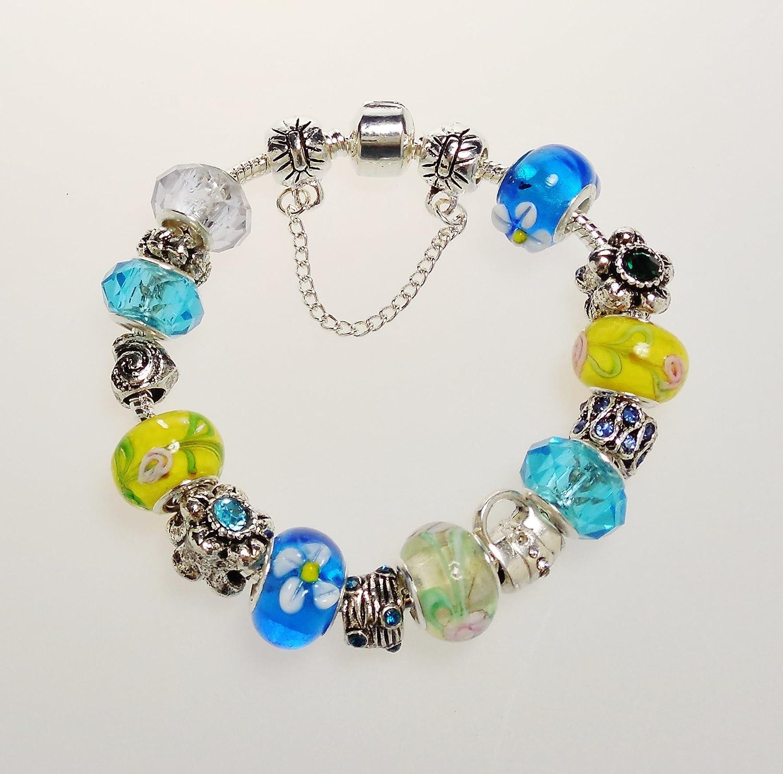 4d669f205 Amazon.com: Pandora Inspired Charm Bracelet - Aqua Blue and Green Murano  Glass Beads - Fits Beads for Pandora Bracelet: Arts, Crafts & Sewing