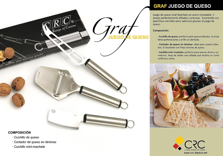 FranquiHOgar Juego de Cuchillos de Queso GRAF, 3 Piezas - Acero INOX: Pala, Machete y Cuchillo de Queso: Amazon.es: Hogar