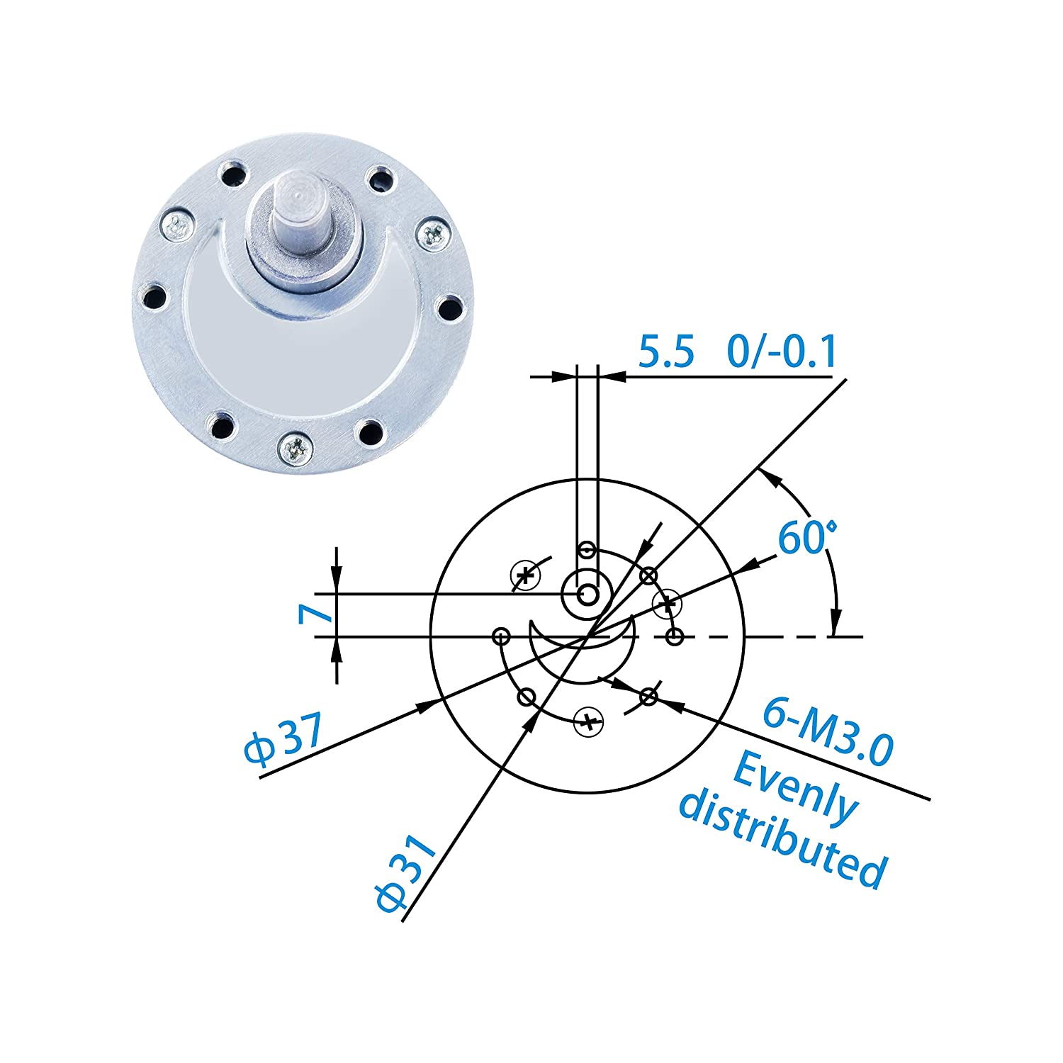 157 RPM//28 kg.cm with Mounting Bracket 389 oz.in D-Shaped Gearbox Output Shaft is 16 mm Long and 6 mm in Diameter. CQRobot 70:1 Metal Gearmotor 37Dx70L mm 12V with 64 CPR Encoder