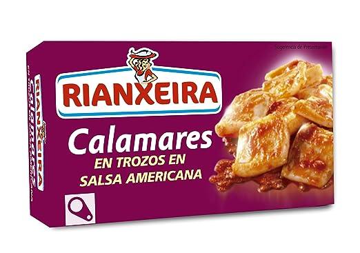 Rianxeira Calamares en Trozos en Salsa Americana - Paquete de 5 x 125 gr - Total