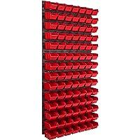 Opslagsysteem wandrek 578 x 1170 mm, 98 stuks box, stapelboxen opbergkast, extra sterke wandplaten, uitbreidbaar…