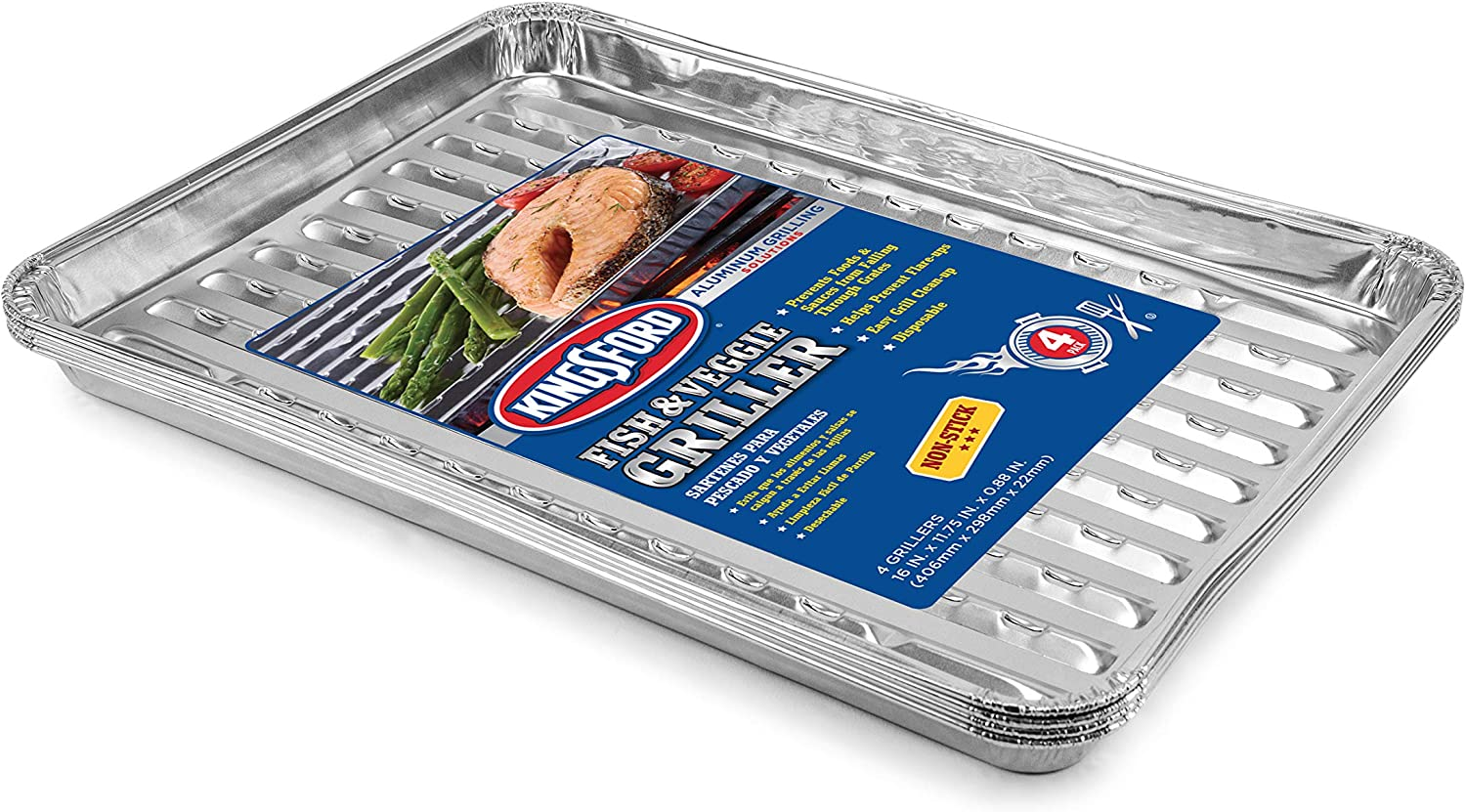 Kingsford Grilling Kingsford Fish and Veggie Aluminum Grill Liners, 8 Count, Silver   No More Food Falling Through Grill Grates   Kingsford Grill Accessories   Non-Stick Disposable Grilling Liners