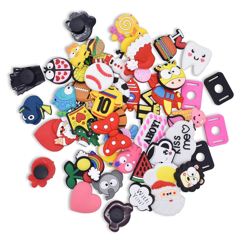 SHINQEAR 50pcs PVC Shoe Charms Decorations different shape Fits for Croc Clog Shoes /& Jibbitz Wristband Bracelet Party Gifts