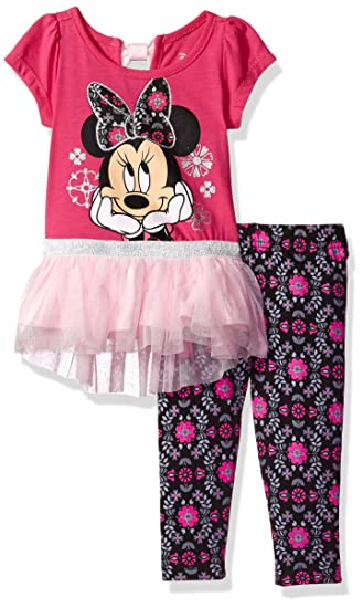 c620f2684e8f4 Disney Girls' 2-Piece Minnie Mouse Tunic with Tulle Legging Set, Pink,