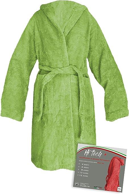 tex family Albornoz Hi Tech© niño niño niño niño de Rizo de Puro algodón Made in Italy Verde New - 8 años: Amazon.es: Hogar