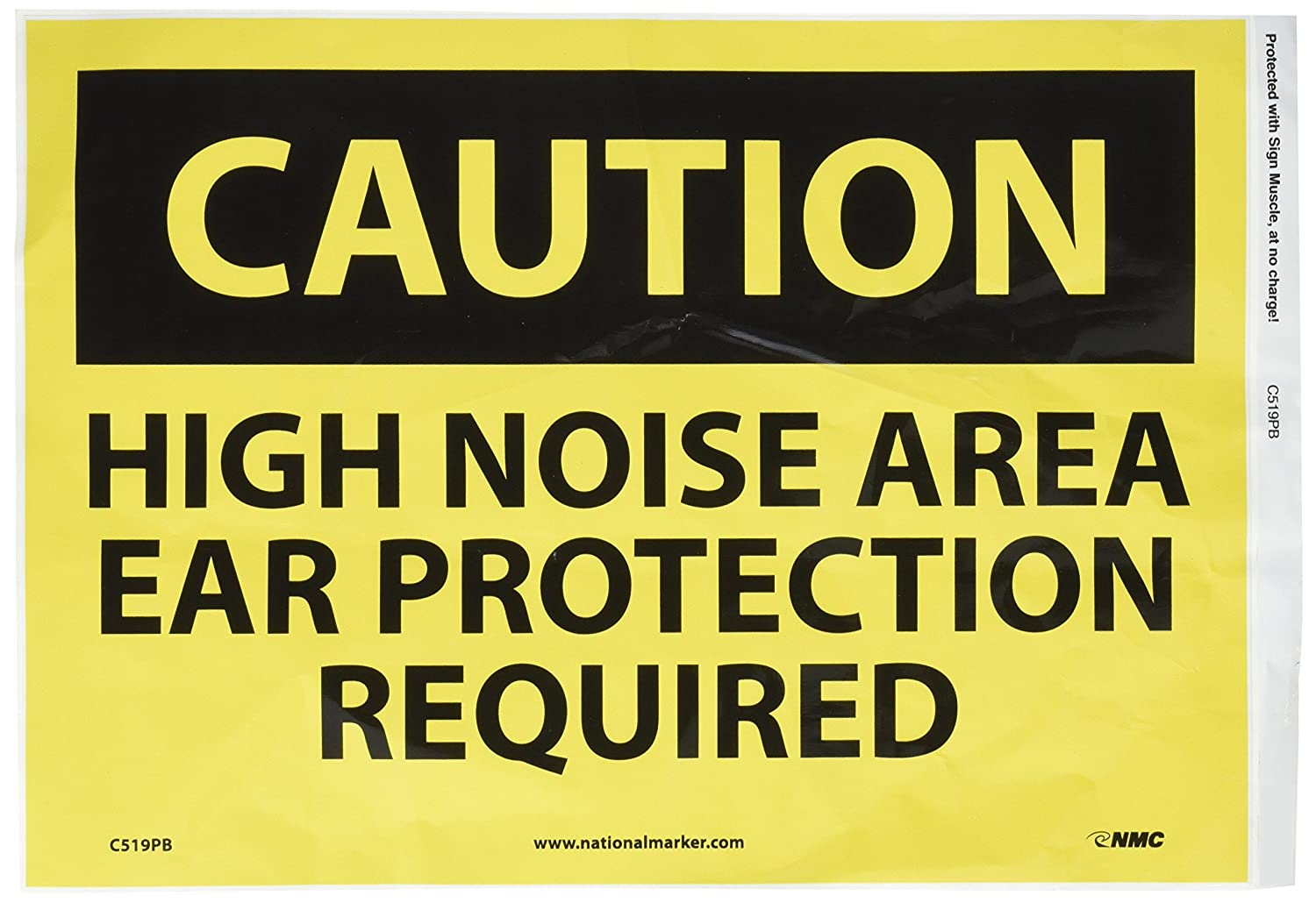 NMC C519PB OSHA Sign, LegendCAUTION - HIGH NOISE AREA EAR PROTECTION REQUIRED, 14 Length x 10 Height, Pressure Sensitive Adhesive Vinyl, Black on Yellow