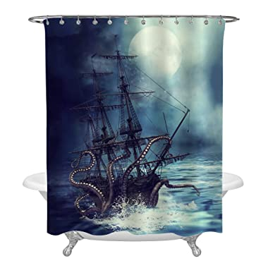MitoVilla Giant Octopus Kraken Attack Nautical Sailboat Shower Curtain Set with Hooks, Vintage Steampunk Sea Monster Kraken Pirate Ship Bathroom Accessories for Shower Decorations, Purple Blue, 72x84