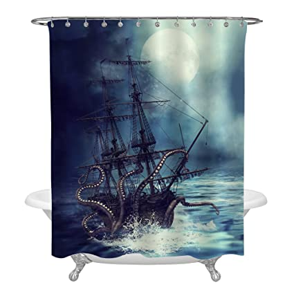MitoVilla Giant Octopus Kraken Attack Nautical Sailboat Shower Curtain Set With Hooks Vintage Steampunk Sea