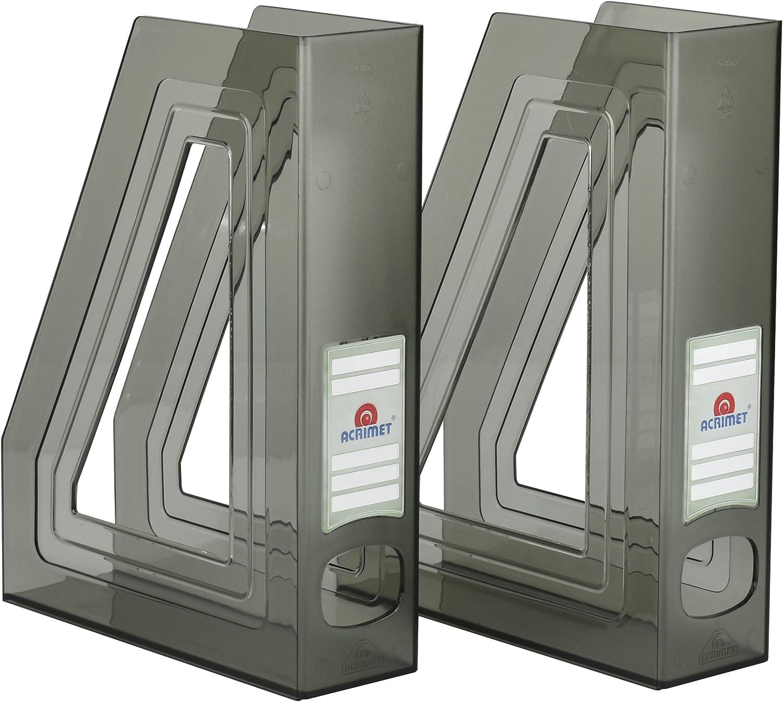 Acrimet Magazine File Holder Rack Organizer (Plastic) (Smoke Color) (2 Pack)