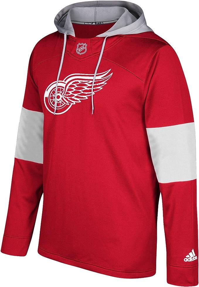 adidas NHL Fleece Hoodie Silver, Taille:M, NHL Teams:Detroit