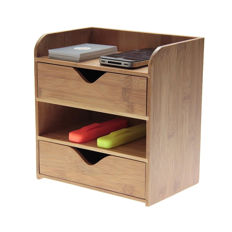 Armadietto per scrivania, per organizzare articoli di cancelleria, in legno naturale di bambù Woodquail at finoak 1592