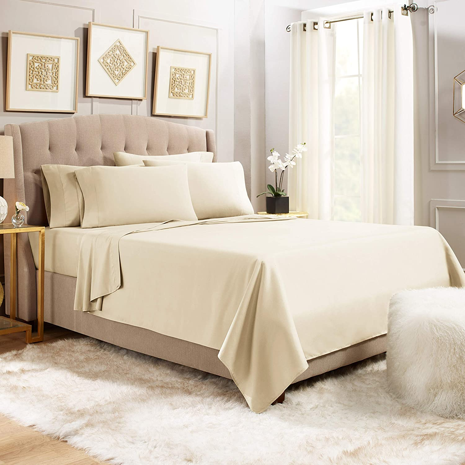 Empyrean Stronger Bed Sheet Set – Holds Longer 110 GSM Heavyweight - Luxury Soft Double Brushed Microfiber – 6 Piece Sheets with 4 Pillowcases – Tight Fit Straps Fitted Sheet – King Size Beige Cream