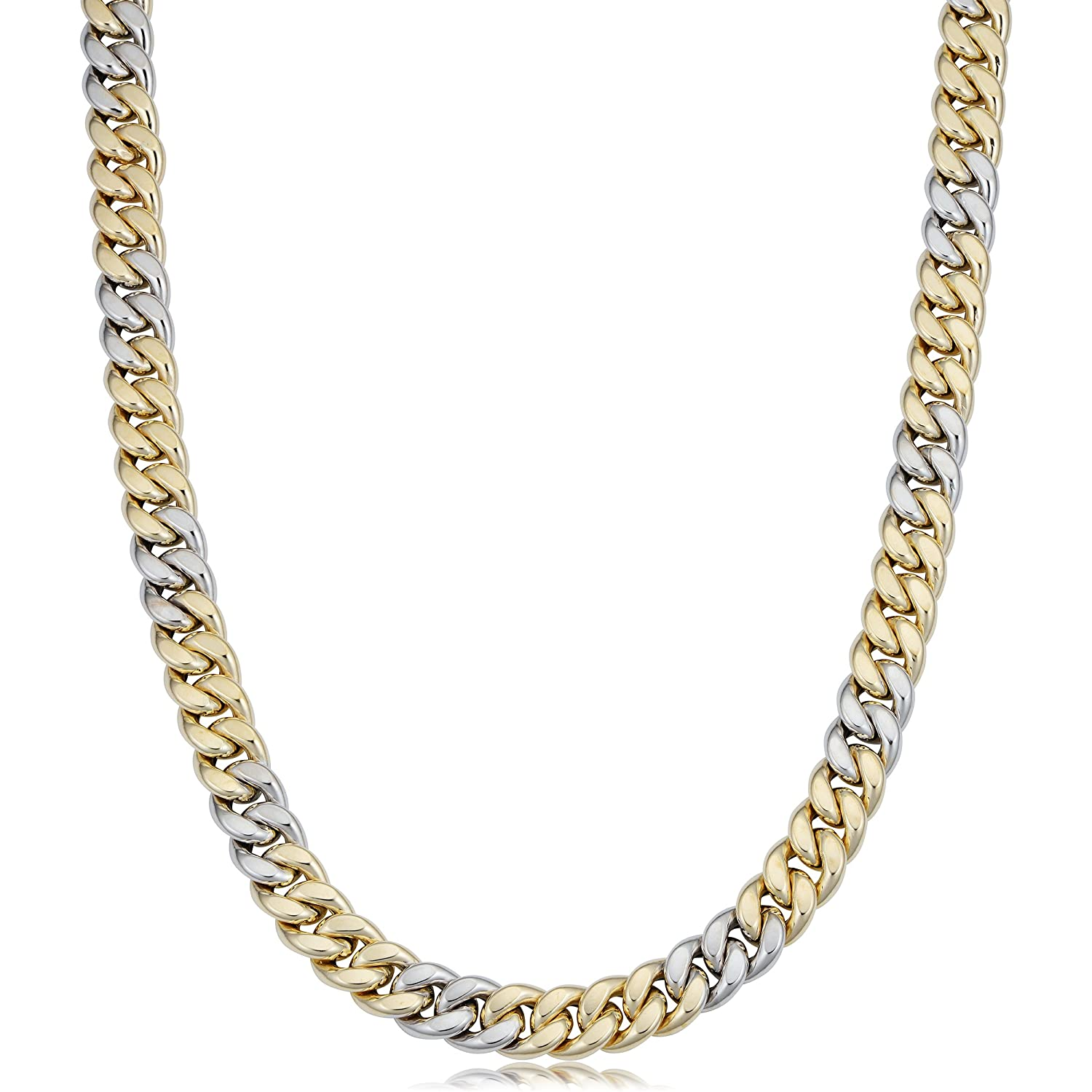 3c665fcefcc1d 14k Yellow And White Gold Miami Cuban Curb Hollow Link Mens Necklace ...