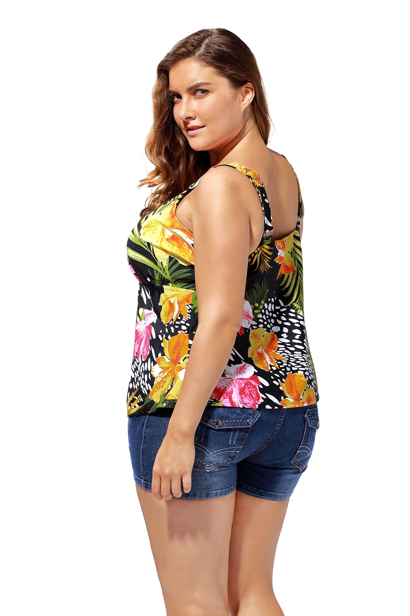 8ef383cd25bdb Attraco Women s Flower Tankini Top Plus Size Swimwear Scoopneck Swimsuit