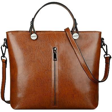fff5f8330278 YALUXE Women's Fashion Genuine Leather Top Handle Handbag Shoulder ...