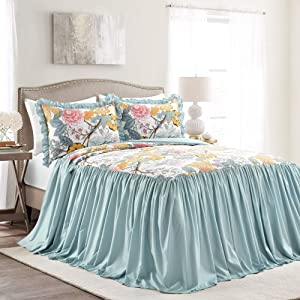 Lush Decor Blue and Yellow Sydney 3-Piece Bedspread Set Luxury Bedding (King)