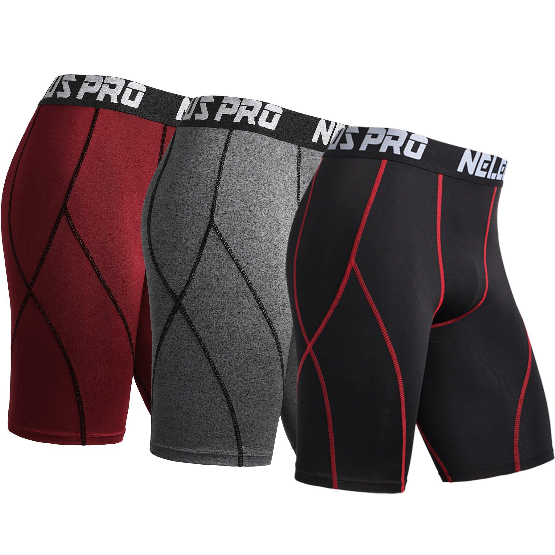 Neleus Men's 3 Pack Sport Running Compression Shorts,6012,Black (Red Stripe),Grey,Red,US L,EU XL