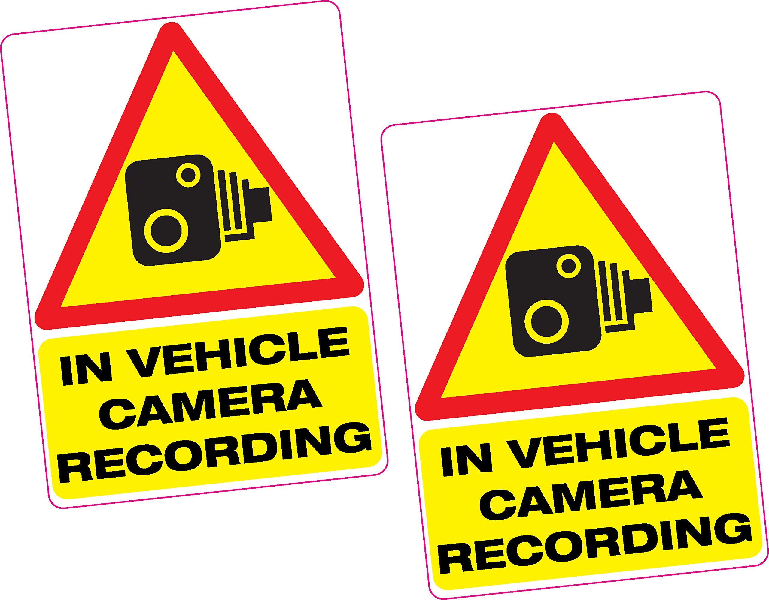 4 Stickers in Vehicle Camera Recording Vinyl Sticker 100x70mm Car Van Taxi Dash Cam
