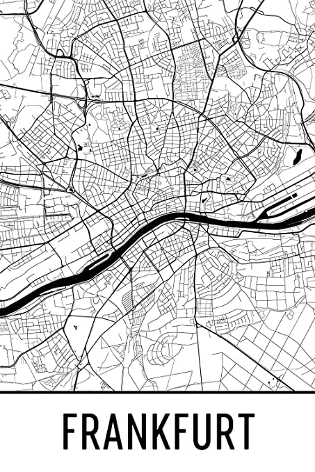 Map Of Germany To Print.Amazon Com Frankfurt Print Frankfurt Art Frankfurt Map Frankfurt