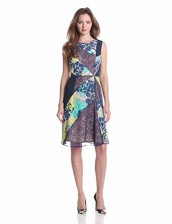 BCBGMAXAZRIA Women's Annie Print and Lace Blocked Dress, Lemon Grass Combo, 2