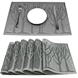 HEBE Placemats, Placemats for Dining Table Set of 6 Crossweave Woven Vinyl Non-slip Insulation Placemat Washable Kitchen Table Mats