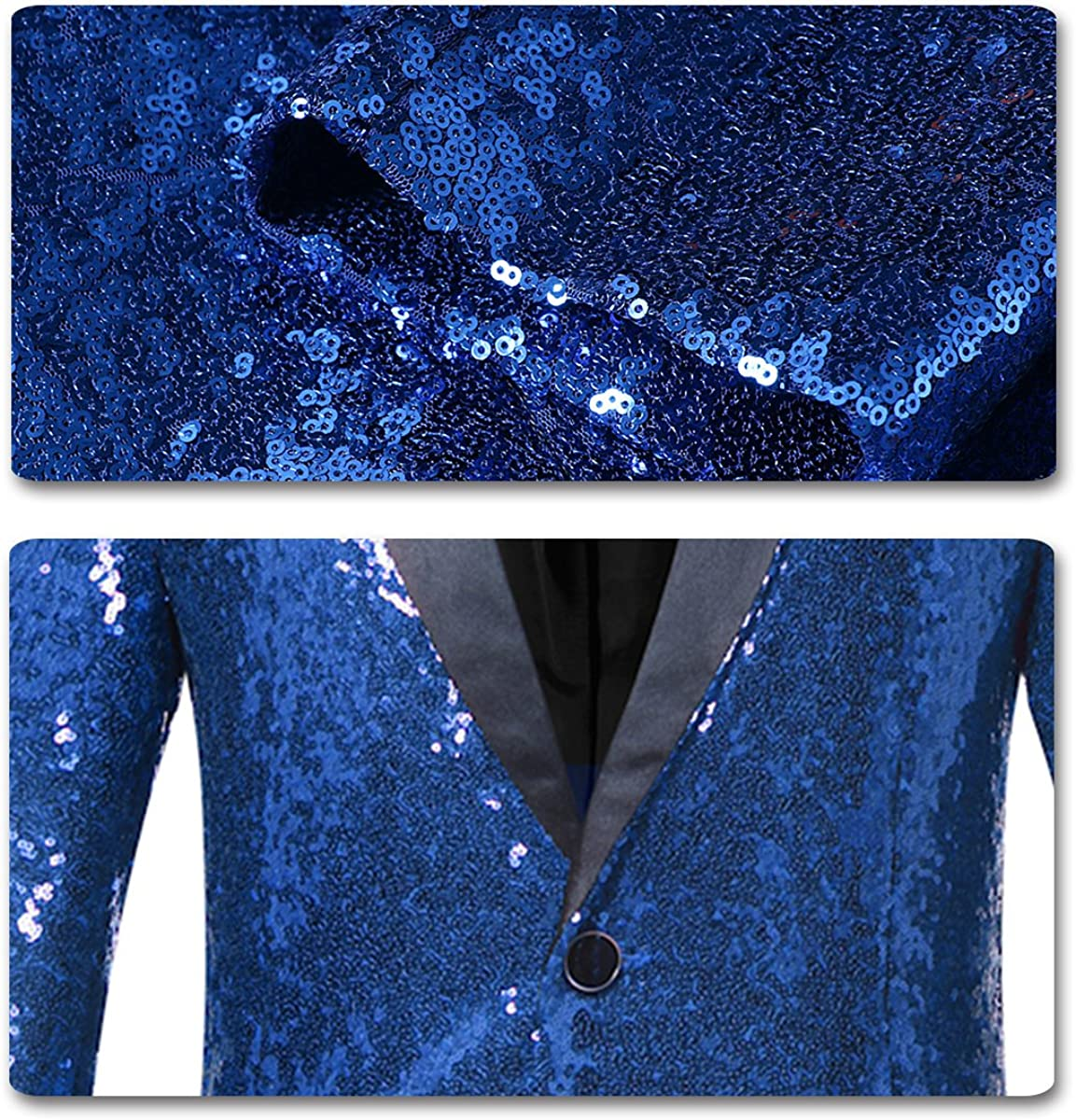 Mens Sequins Blazer Slim Fit Sport Coat Jacket Party Wedding Sports Coat