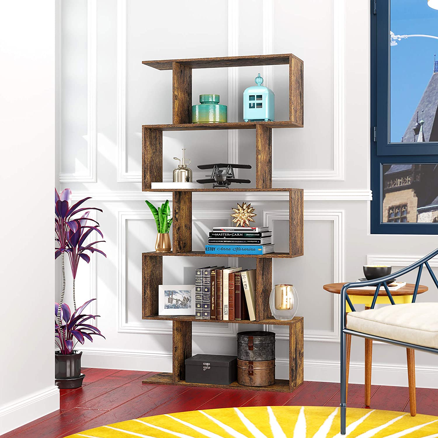 Amazon Com Yusong Wood Bookcase 5 Tier S Shaped Bookshelf Display Shelf For Living Room Living Room Divider Rustic Brown Kitchen Dining