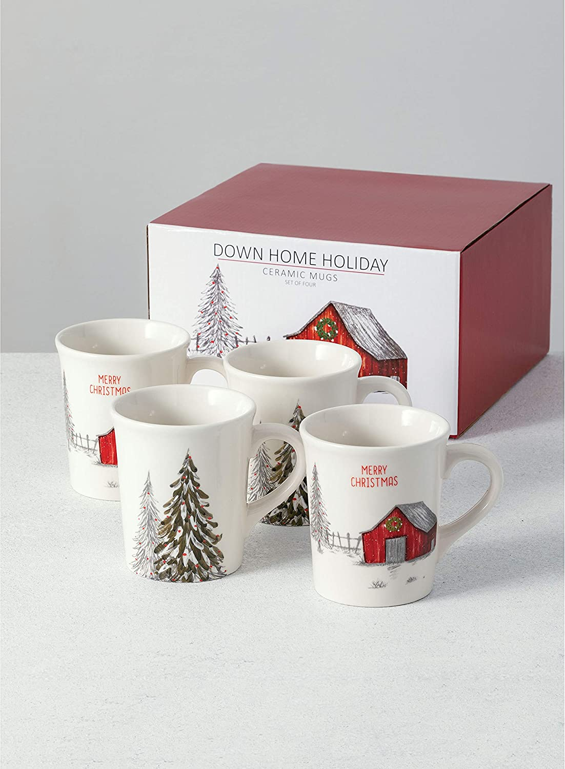 Sullivans Down Home Holiday Mug Set of 4, Holiday Barn and Christmas Tree Print on Four Mugs (PN3162)