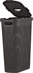 Laundry Hamper With Lid 1.15 Bushel Slim and Tall - Wicker Style Brown - Durable Laundry Basket with Cutout Handles - Dirty Cloths Storage in Bathroom or Bedroom, Apartment, Dorms By Superio