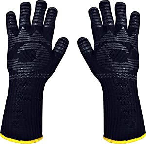 Heat Resistant Gloves - 1472 ℉ Grilling Gloves For Fireplace - Barbeque Accessories For Kitchen - BBQ Gloves - Oven Mitt For Oven, 1 Pair, Dupont Nomex Heat Fiber is Made In USA