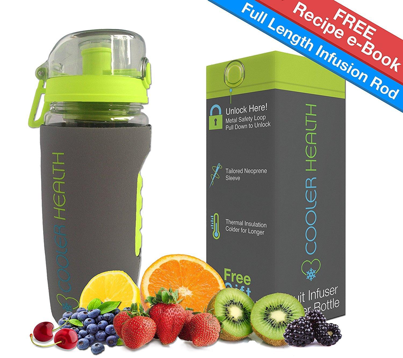 Best Fruit-Ei Wasser Flasche – frei Infusion Rezept eBook & Anti Schweiß Sleeve – 907 – Full Starter Kit – BPA-frei Kunststoff – Isolierte – Beste für Obst infundiert Wasser Reise Sport
