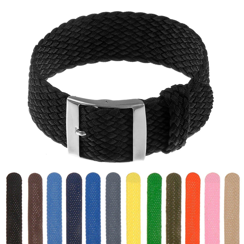 StrapsCo Perlon Braided Nylon Watch Band Strap - 18mm 20mm 22mm 24mm