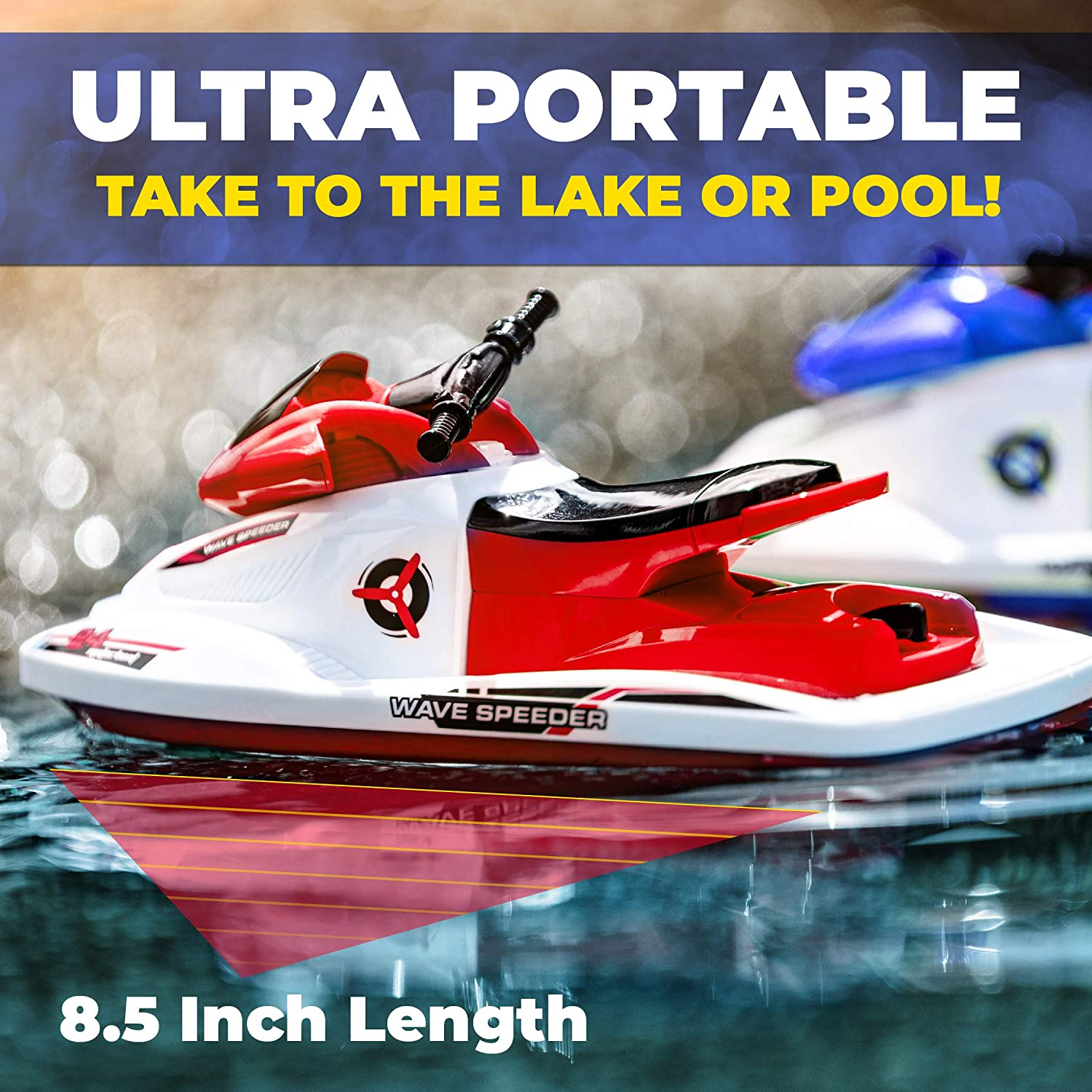 Force1 Remote Control WaveRunner Motor Boat for Pools and Lakes Red Remote Control Toy for Adults and Kids RC WaveRunner