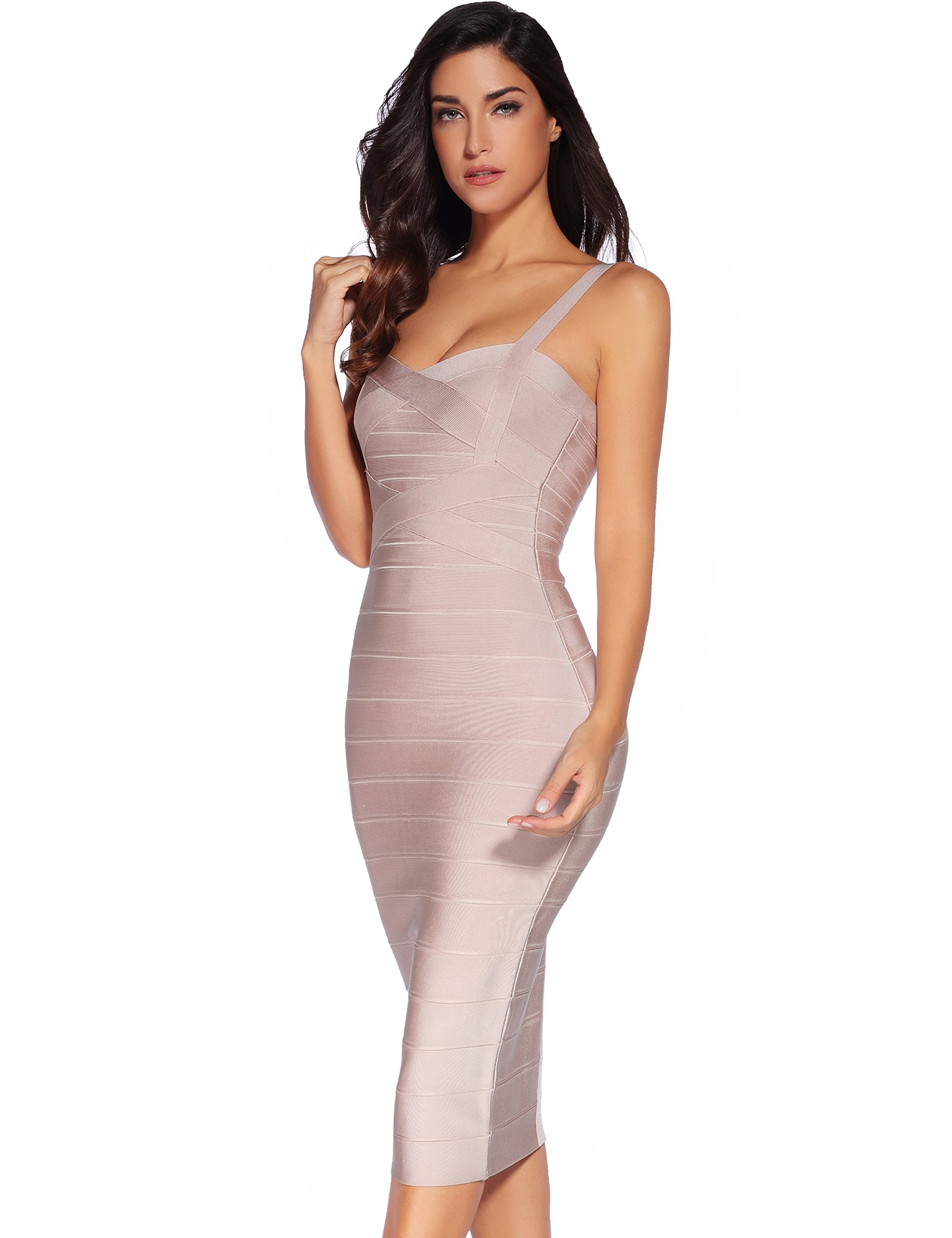 4289111d970 Meilun Women s Strap Midi Bandage Dress Length Party Solid Prom Bodycon  Dress   Club   Night Out   Clothing