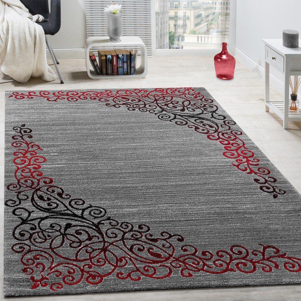 Paco Home Designer Teppich Mit Floral Muster Glitzergarn Rot Grau Anthrazit Meliert, Grösse 240x340 cm