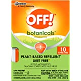 OFF! Botanicals Mosquito and Insect Repellent Towelettes, Plant-Based*, Deet-Free**, Easy to Apply, 10 Individually…