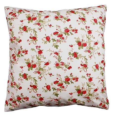Almohada 30 x 30 cm, pequeñas rosas, algodón cremallera ...